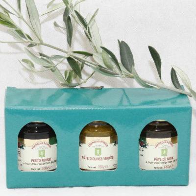 coffret découverte 2 pesto rouge pâte de noix pâte d'olives vertes