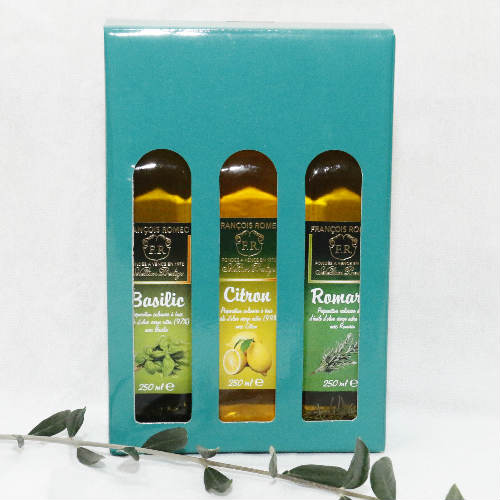 coffret huiles d'olive Méditérranée romarin citron basilic