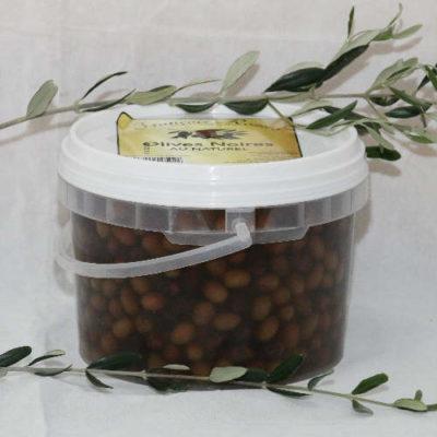 Olives noires au naturel en seau de 2.5 KG