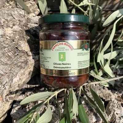 Olives noires dénoyautées à l'huile